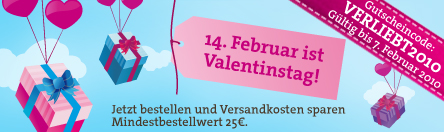 Valentinstagsgeschenke bestellen - Versandkosten sparen
