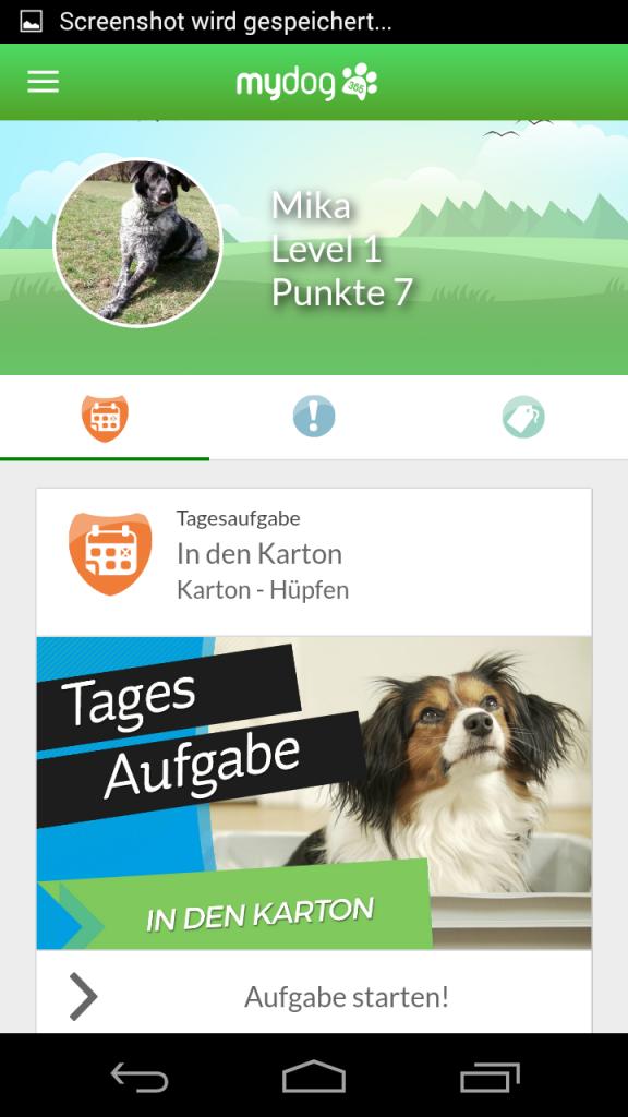 MyDog365 - Screenshot aus der App